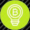 bitcoin, bulb, energy, idea, light, light bulb, money icon