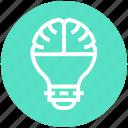 brain, bulb, creative thinking, energy, idea, light, light bulb icon
