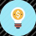 bulb, business, dollar, finance, idea, light, money icon