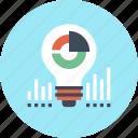 bulb, business, chart, data, finance, idea, light icon