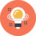 bulb, discovery, idea, imagination, inspiration, light, planet icon