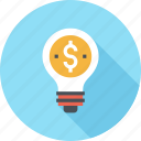 bulb, business, dollar, finance, idea, light, money