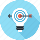 bulb, goal, idea, light, marketing, success, target