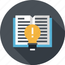 book, bulb, education, idea, knowledge, learn, light icon