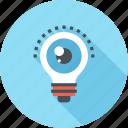 bulb, eye, idea, imagination, light, view, vision icon