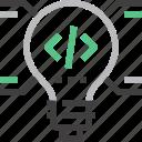 bulb, code, coding, idea, light, program, programming