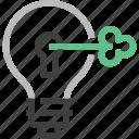 bulb, idea, imagination, intellectual, key, light, property icon