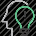 bulb, head, human, idea, imagination, light, solution icon