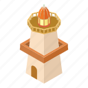 beacon, building, isometric, light, lighthouse, object, tower