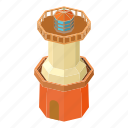 beacon, isometric, light, lighthouse, object, tower, water