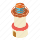 beacon, isometric, light, lighthouse, object, tower, vintage