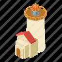 beacon, isometric, light, lighthouse, object, port, tower