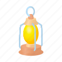 cartoon, flame, kerosene, lamp, lantern, metal, oil icon