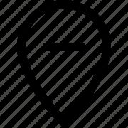 delete, location, map, minus, pin, remove icon
