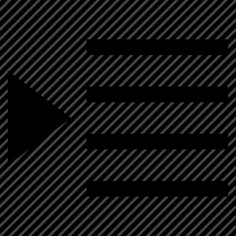 align, arrow, indent, left icon
