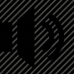 audio, half, sound, speaker, volume icon