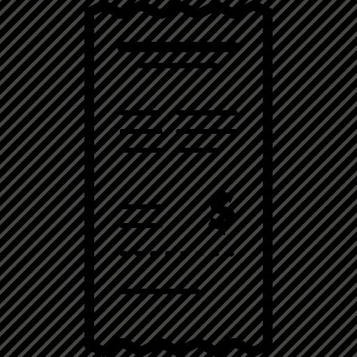 bill, docket, invoice, paper, receipt icon