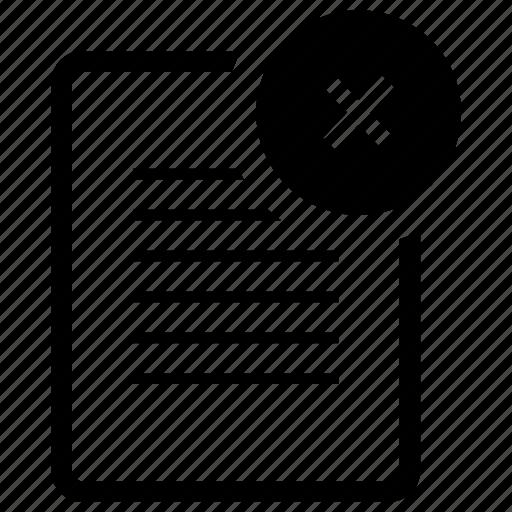 cross, delete, document, fail, file, page, paper, remove, trash icon