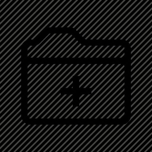 add, create, file, folder, paper icon