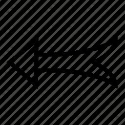 arrow, draw, hand, left, line icon