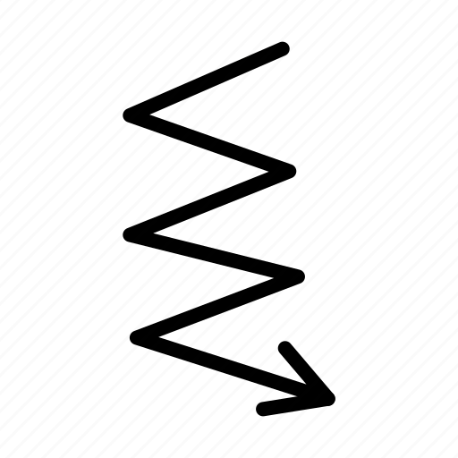 arrow, down, draw, hand, line, zigzag icon