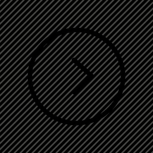 arrow, circle, line, one, thin icon