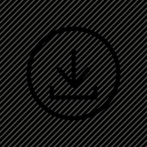 arrow, bold, circle, down, download, file, line icon