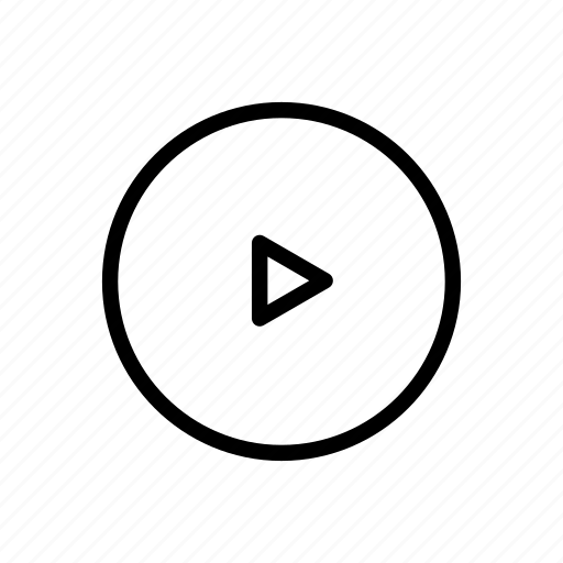 arrow, bold, circle, line, play, triangle, video icon