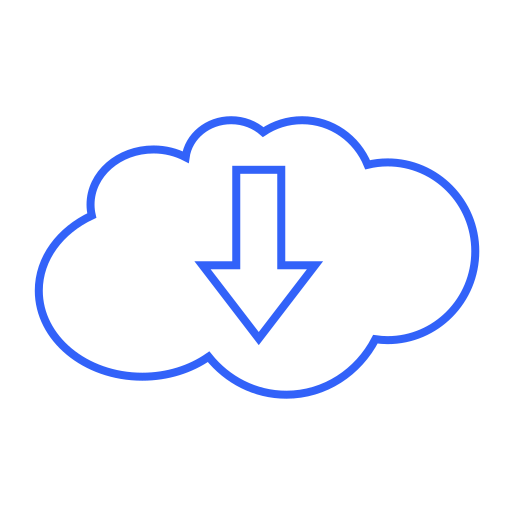 arrow, cloud, data, disk, down, download, storage icon