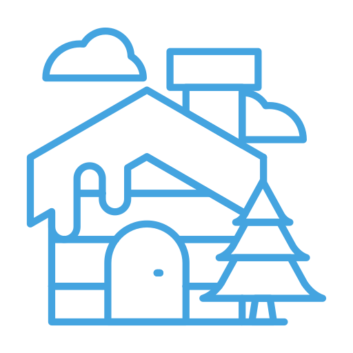 cabin, cloud, home, house, tree, winter icon