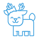 deer, reindeer, forest, animal, smile, happy icon