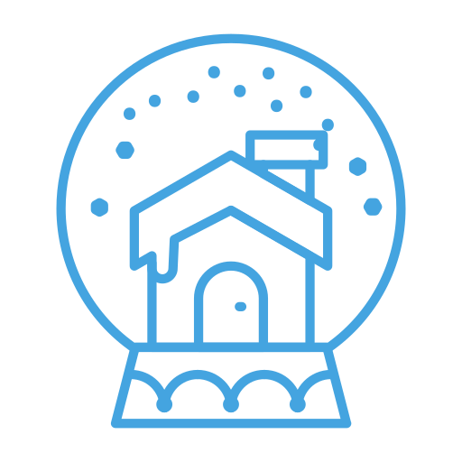 cabin, decor, decoration, house, snow, snowglobe icon
