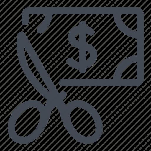 cut, deal, dollars, price, promo, sale, scissors icon