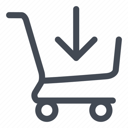 arrow, buy, cart, in, products, put, shopping icon