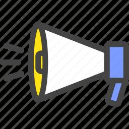 announcement, loudspeaker, megaphone, notice, speaker icon