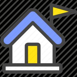 elementary school, flag, high school, house, school icon