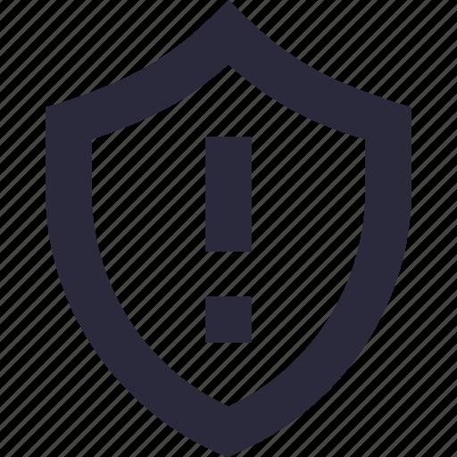 alert, exclamation, shield, virus, warning icon