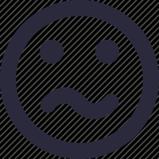 confused, emoji, emoticon, smiley, worried smiley icon