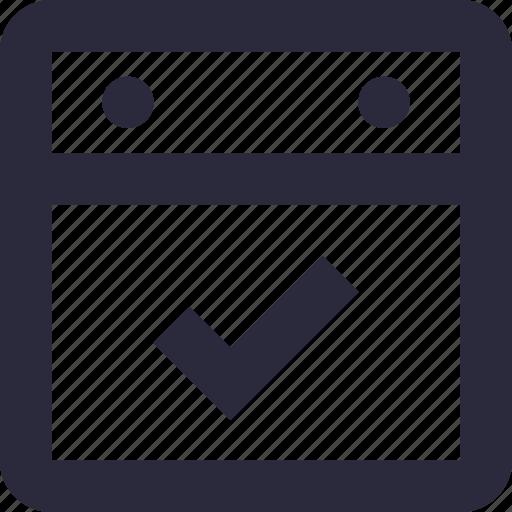 calendar, calendar mark, check mark, date, event icon
