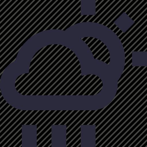 cloud, raining, sky, sun, weather icon