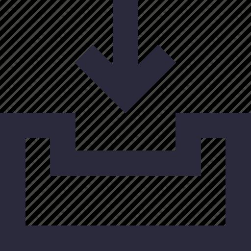 arrow, down arrow, download tray, storage, storage file icon