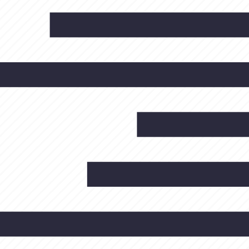 align right, alignment, sorting, text, text lines icon