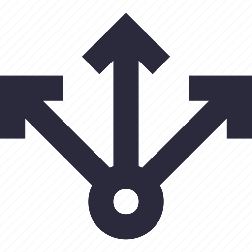 arrows, directions, navigational, pointing, three ways icon