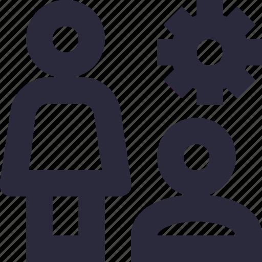 cog, leader, management, organization, team head icon