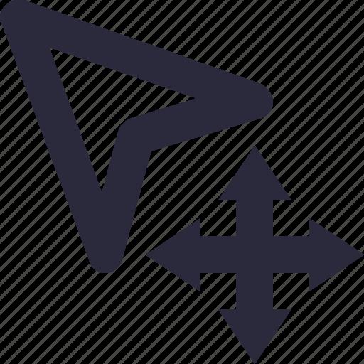 arrows, click, cursor, mouse pointer, move icon