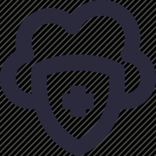 cloud computing, cloud security, data security, shield, storage cloud icon