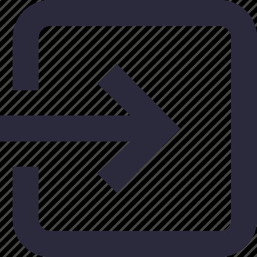 arrow, enter, interface, login, sign in icon