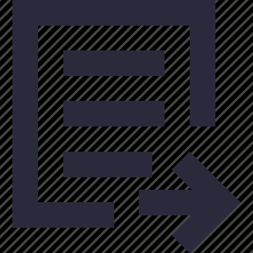 arrow, document, forward file, send file, sheet icon
