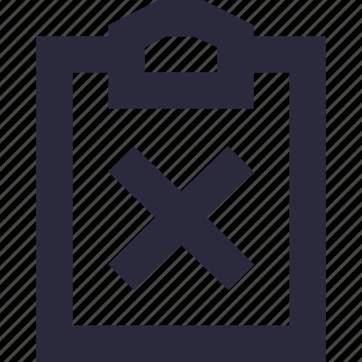 cancel file, clipboard, delete file, document, remove file icon