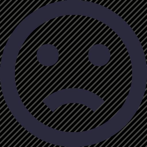 emoticon, expressions, feeling, sad, sad smiley icon